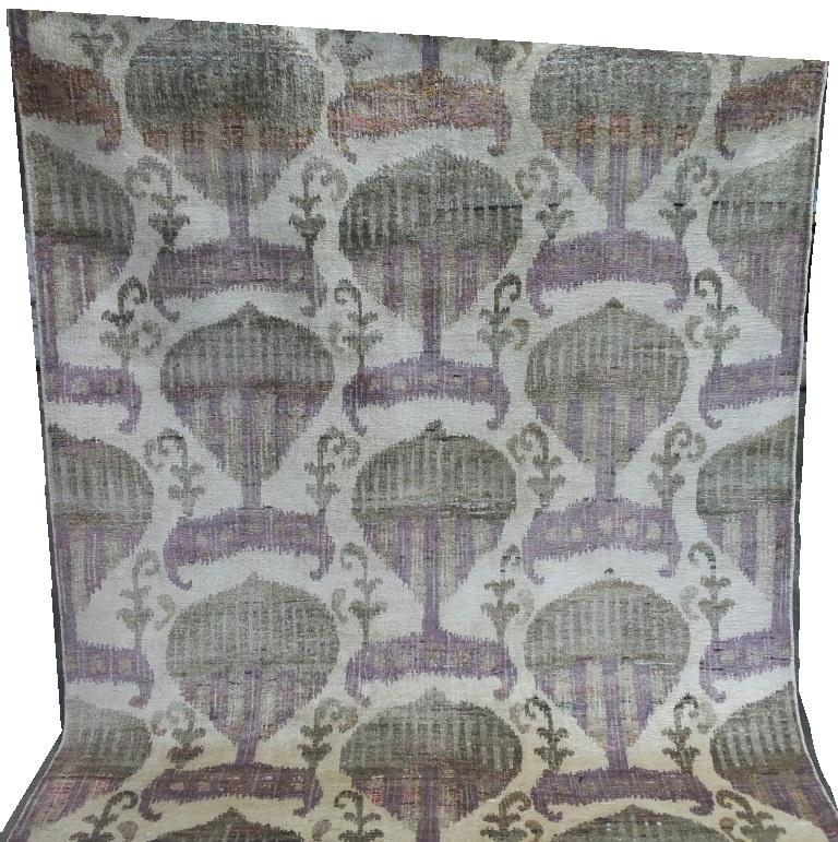 Mid-Century Modern Eco-Friendly Transitional Ikat Silk Beige Purple and Gold Mustard Rug For Sale