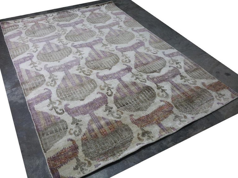 Indian Eco-Friendly Transitional Ikat Silk Beige Purple and Gold Mustard Rug For Sale