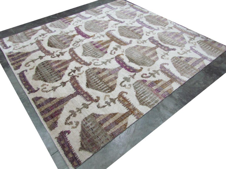 Hand-Knotted Eco-Friendly Transitional Ikat Silk Beige Purple and Gold Mustard Rug For Sale