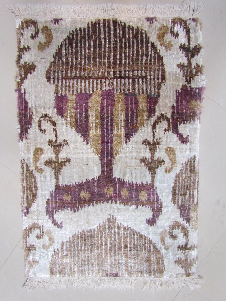 Contemporary Eco-Friendly Transitional Ikat Silk Beige Purple and Gold Mustard Rug For Sale