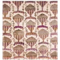 Eco-Friendly Transitional Ikat Silk Beige Purple and Gold Mustard Rug