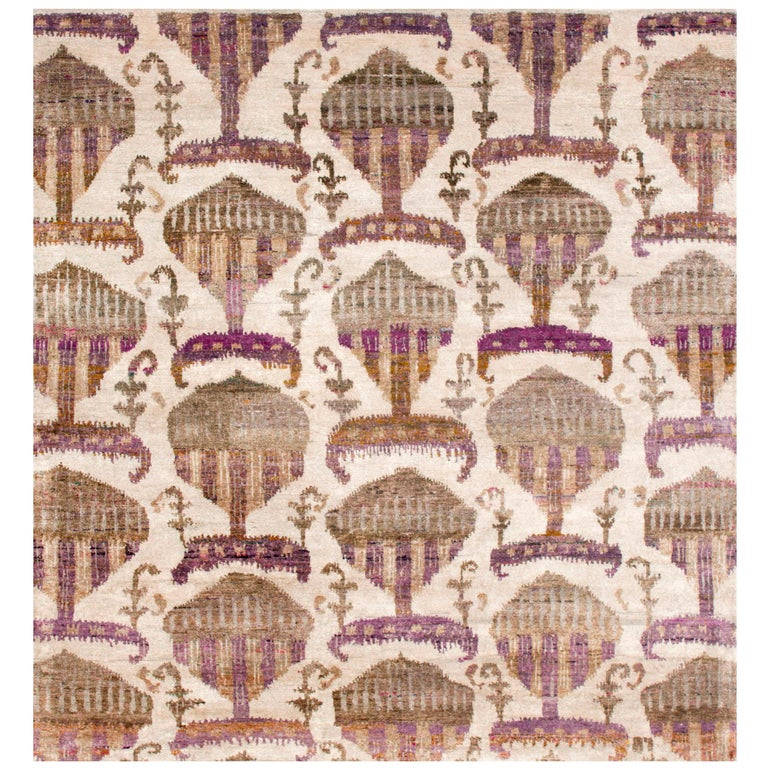 Eco-Friendly Transitional Ikat Silk Beige Purple and Gold Mustard Rug For Sale