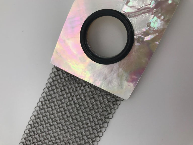 Women's or Men's White Mother of Pearl Iridescent  Stainless Steel Necklace/ Belt by S.Gottwald For Sale