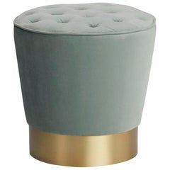 Eco Pouf with Capitoné on Top and Brushed Brass Base