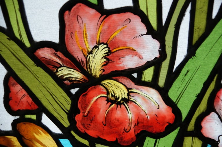 20th Century Ecole de Nancy Art Nouveau Stained Leaded Glass Window Panels Heron France 1900 For Sale