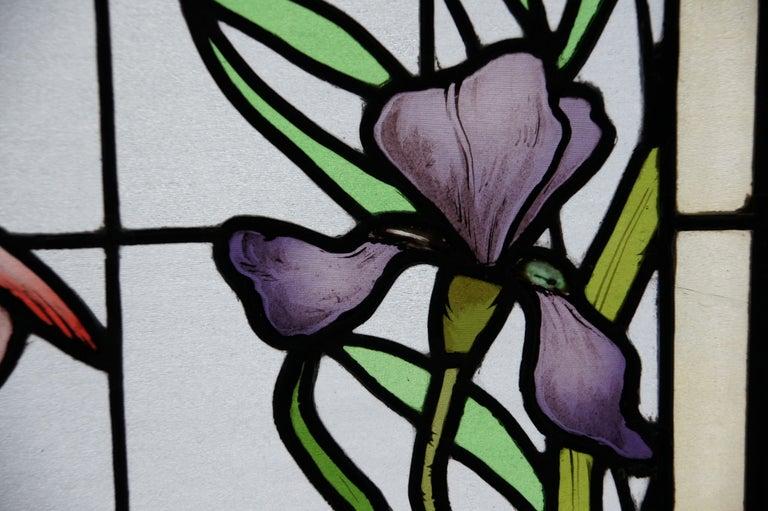 Ecole de Nancy Art Nouveau Stained Leaded Glass Window Panels Heron France 1900 For Sale 2