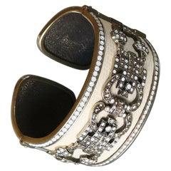 Ecru Enamel Multi Color Swarovski Crystals Heidi Daus Cuff Bracelet