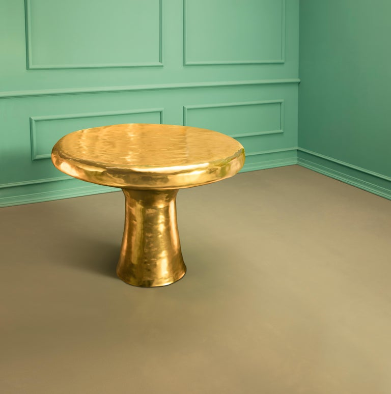 Modern Ecstasy Dining Table in Brass by Scarlet Splendour For Sale