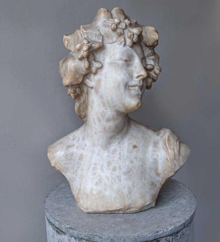 Neoclassical An Ecstatic Bacchanalian figure in alabaster by Jef Lambeaux, early 20th century For Sale