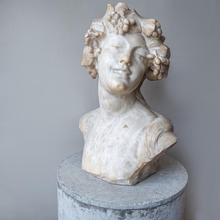 Belgian An Ecstatic Bacchanalian figure in alabaster by Jef Lambeaux, early 20th century For Sale