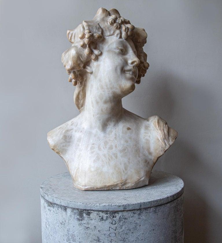An Ecstatic Bacchanalian figure in alabaster by Jef Lambeaux, early 20th century For Sale 1