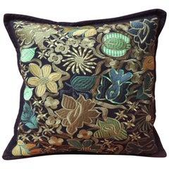 Ecuadorian Green and Black Embroidery Decorative Pillow