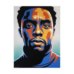 "Chadwick Boseman ""Black Panther"" Teal, Blue, Orange, and Yellow Modern Portrait"