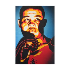 """Joe Louis """"The Brown Bomber"""" Orange, Brown, and Blue Toned Abstract Portrait"""