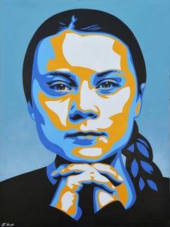 "Greta Thunberg ""Greta"" Blue, Yellow, and Black Abstract Contemporary Portrait"
