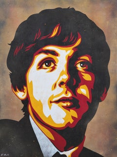 """""""Paul McCartney"""" Yellow, Red, and Black Contemporary Abstract Portrait Painting"""