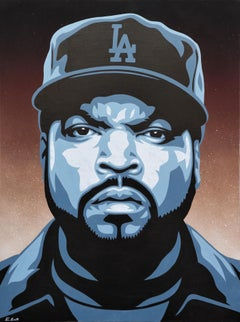 """""""Ice Cube"""" Black, Grey, and Brown Toned Cotemporary Abstract Portrait Painting"""