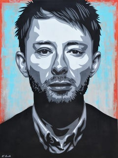 """Thom Yorke """"House of Cards"""" Teal, Red, and Black Contemporary Abstract Portrait"""