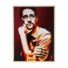 """Edward Snowden """"Whistleblower"""" Red, Orange, and Black Abstract Portrait Painting"""