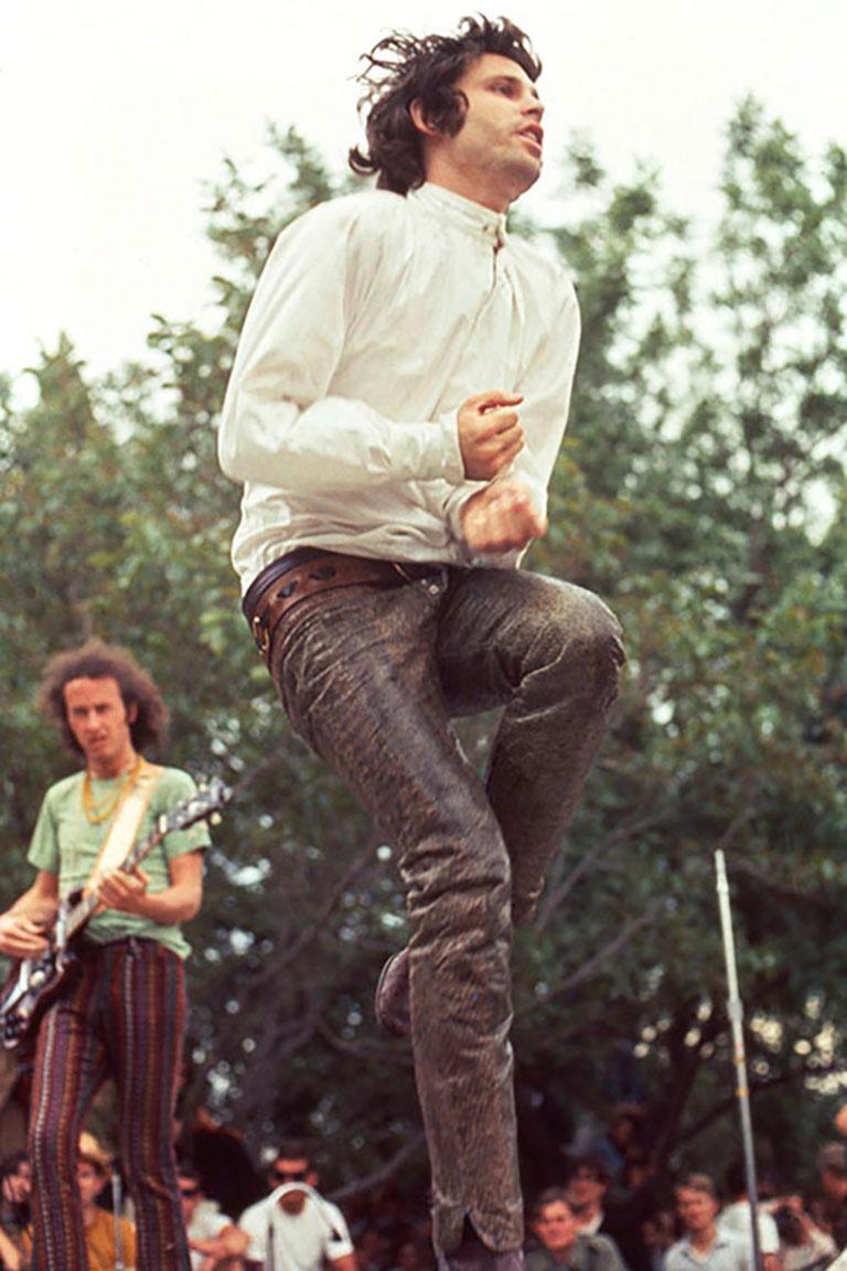 Jim Morrison in San Jose, 1968 (Ed Caraeff - Colour Photography) - Black Color Photograph by Ed Caraeff