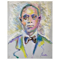 """Ed Ceseña """"King Oliver"""", Large Fauvist Portrait Oil Painting, 1980s"""
