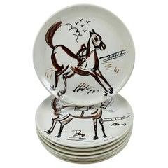 Ed Langbein Mid-Century Modern Hand Painted Italian Jockey on Horses Plates, S/8