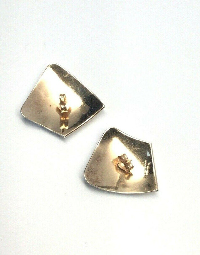 Women's Ed Levin Modernist 14 Karat Sterling Silver Modernist Earrings For Sale