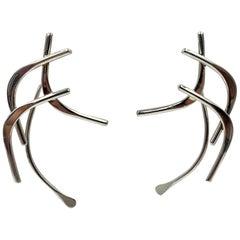 Ed Levin Modernist Midcentury Dangle Earrings Sterling Silver 14 Karat Post