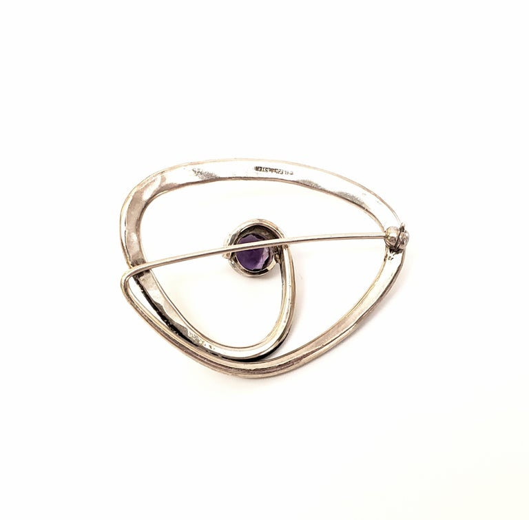 Ed Levin Sterling Silver Amethyst Brooch / Pin In Good Condition For Sale In New Milford, CT