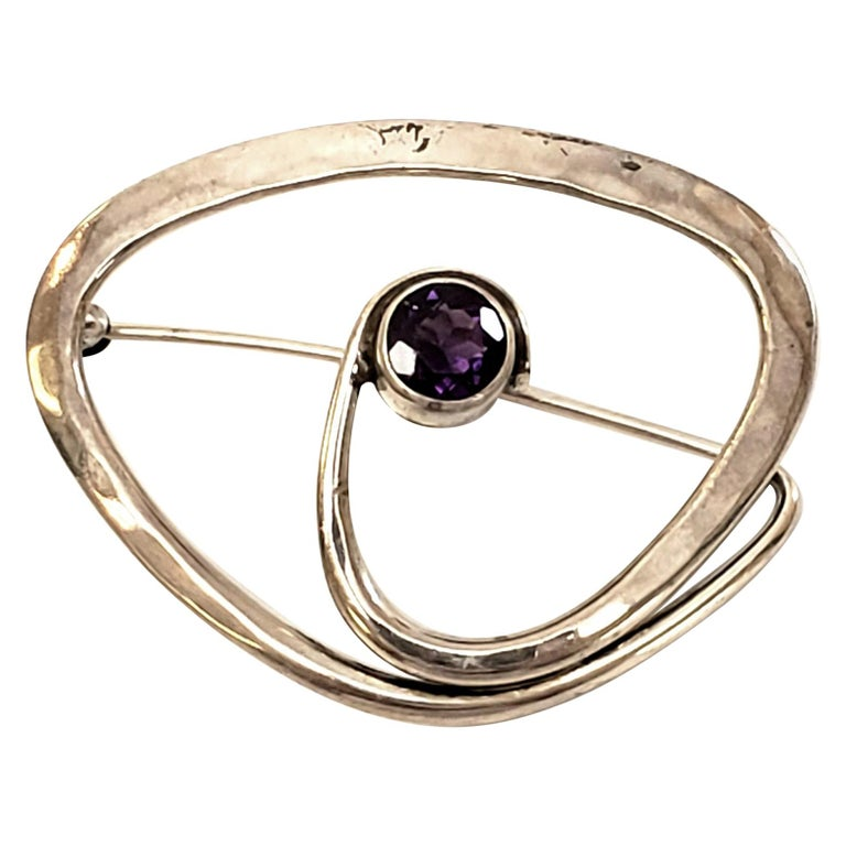 Ed Levin Sterling Silver Amethyst Brooch / Pin For Sale