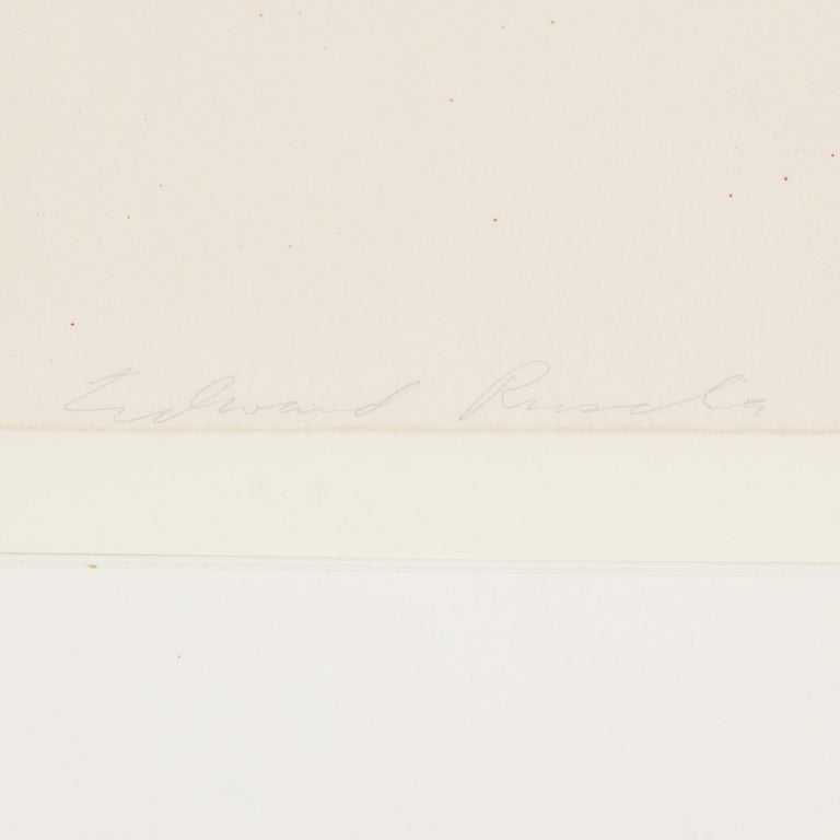 Ed Ruscha, lithograph, signed 137/200. Dated 1975.