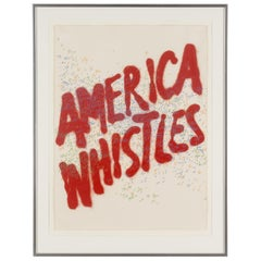 """Ed Ruscha Lithograph """"America Whistles"""", Signed"""