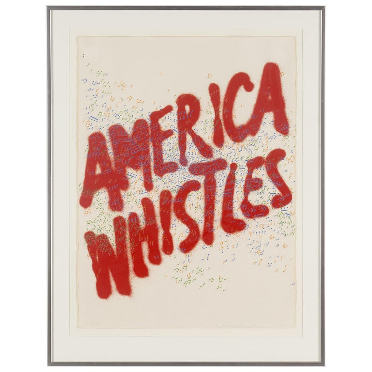 """Ed Ruscha Lithograph """"America Whistles"""", Signed For Sale"""