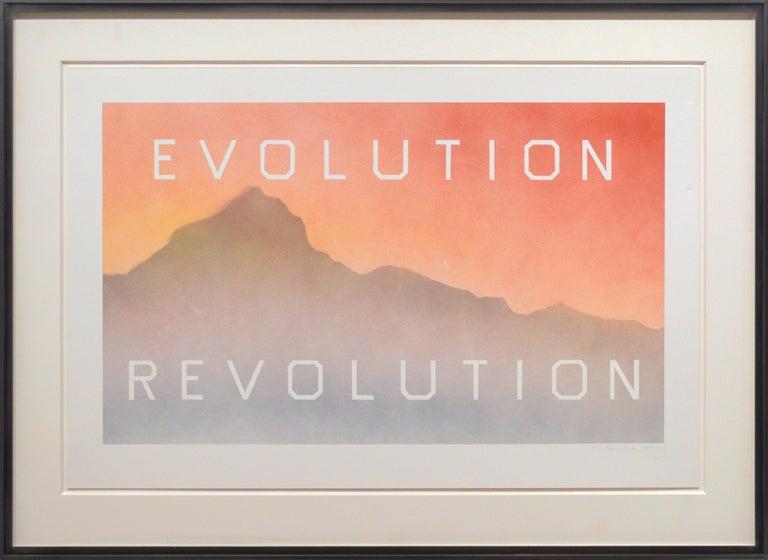 Ed Ruscha Landscape Painting - Evolution Revolution