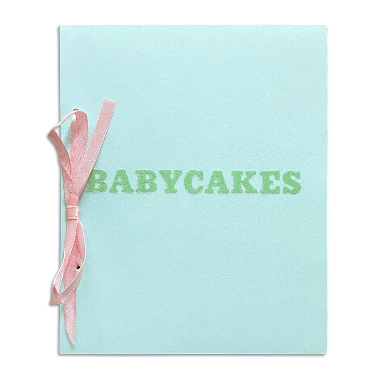 Ed Ruscha (American, b. 1937) Babycakes with Weigths, 1970 Medium:Artist's book, offset printed (white paper, blue paper with green flocking, pink satin ribbon) Dimensions:19 × 15.2 × 0.5 cm (7 1/2 × 6 × 3/16 in) Publisher:Multiples, Inc., New