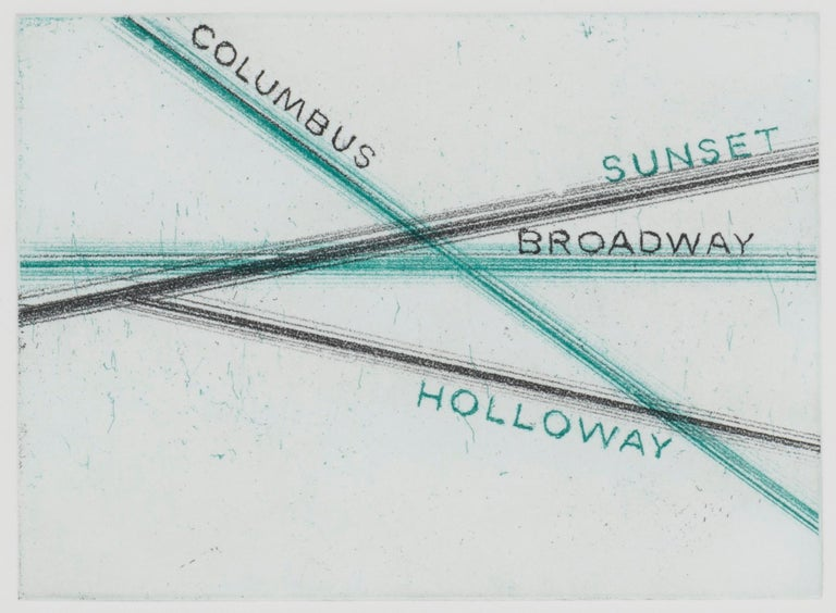<i>Columbus, Sunset, from Los Francisco San Angeles</i>, 2001, by Ed Ruscha. Offered by Leslie Sacks Gallery