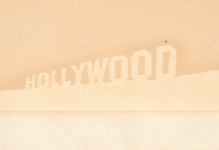 Pepto-Caviar Hollywood - Orange Abstract Print by Ed Ruscha