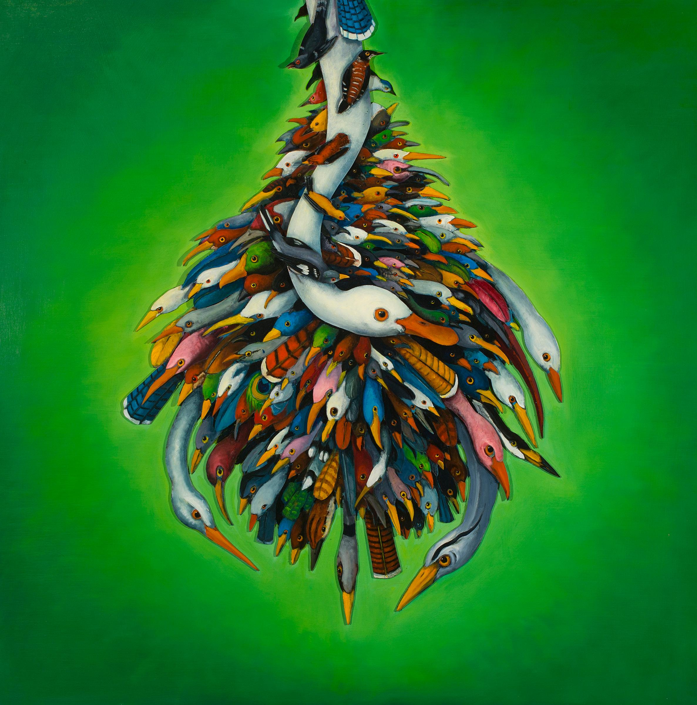 Plume, by Ed Smith, 3-Dimensional Green Abstract Bird Painting, Oil on canvas