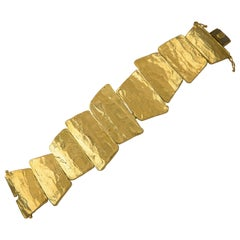 Ed Wiener 18 Karat Solid Gold Modernist Bracelet, circa 1970s