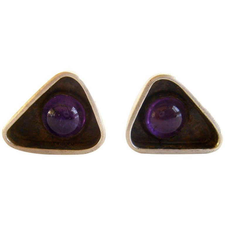 Ed Wiener Amethyst Sterling Silver American Modernist Cufflinks In Good Condition For Sale In Los Angeles, CA