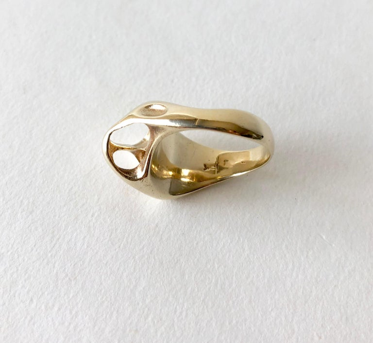 Women's Ed Wiener Gold Abstract Modernist Moon Crater Ring For Sale