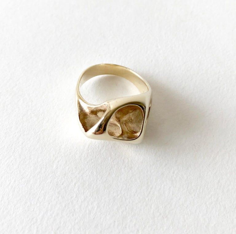 Ed Wiener Gold Abstract Modernist Moon Crater Ring For Sale 1