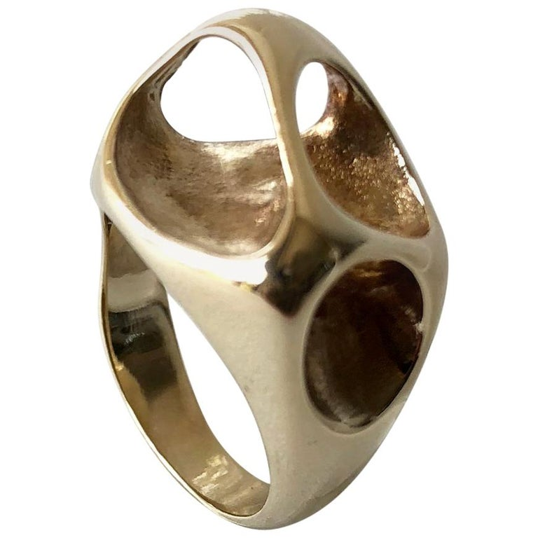 Ed Wiener Gold Abstract Modernist Moon Crater Ring For Sale