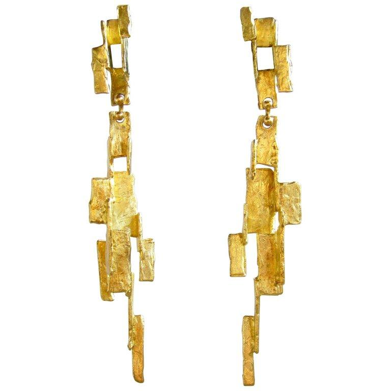 Ed Wiener Gold American Abstract Modernist Earrings In Good Condition For Sale In Los Angeles, CA