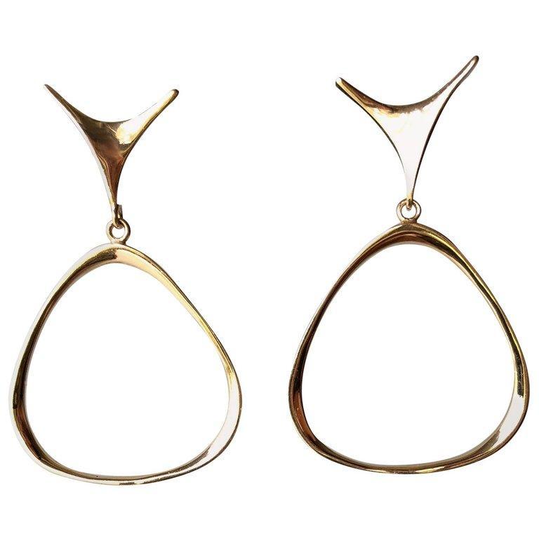 Ed Wiener Gold New York Modernist Dangling Hoop Earrings In Good Condition In Los Angeles, CA
