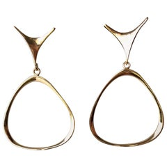 Ed Wiener Gold New York Modernist Dangling Earrings