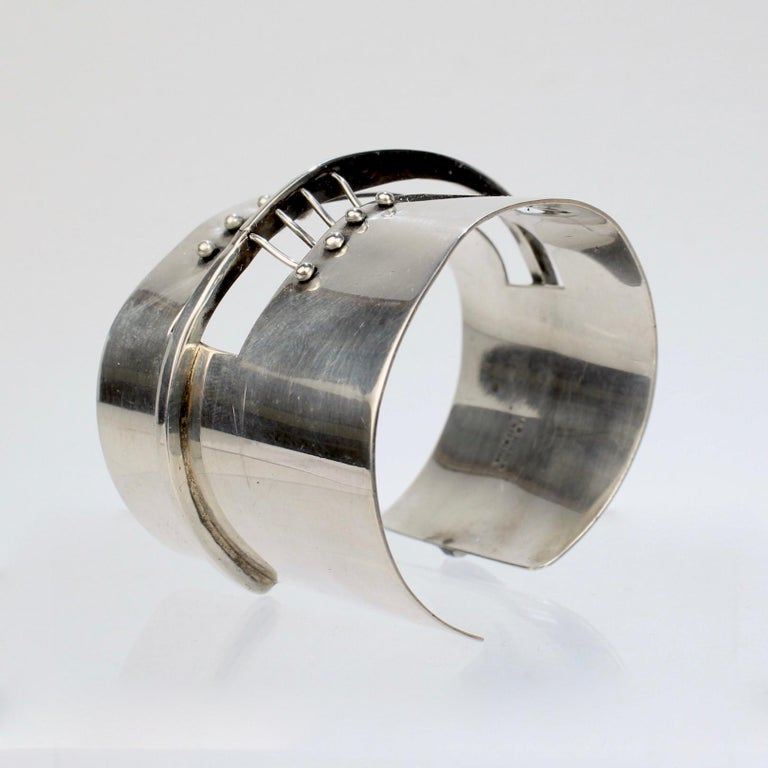 Handmade In The UK Silver Cuff Bracelet Abstract Pattern