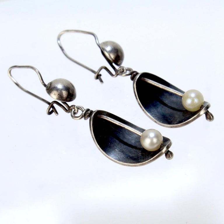 Ed Wiener Modernist Sterling Silver and White Pearl Dangle Earrings For Sale 1