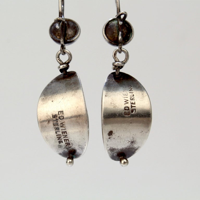 Ed Wiener Modernist Sterling Silver and White Pearl Dangle Earrings For Sale 3