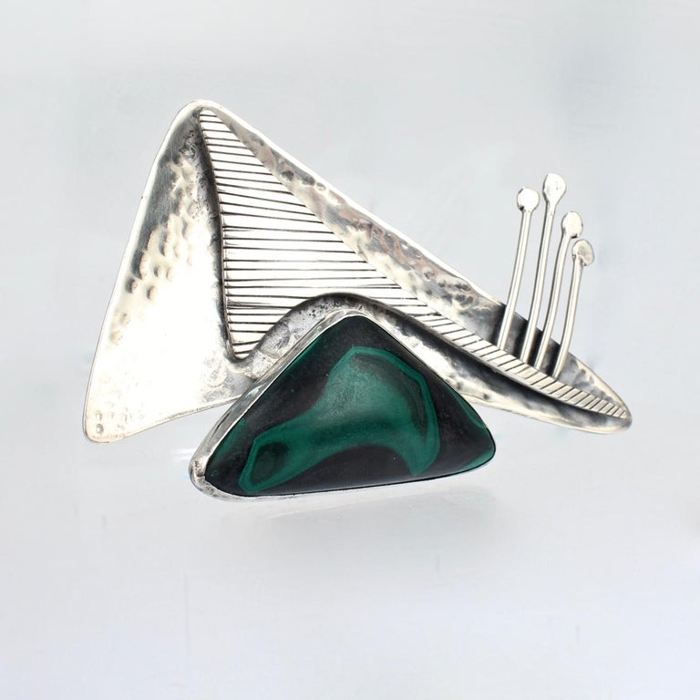 Ed Wiener Sterling Silver and Malachite Midcentury Modernist Brooch / Pendant In Good Condition For Sale In Philadelphia, PA